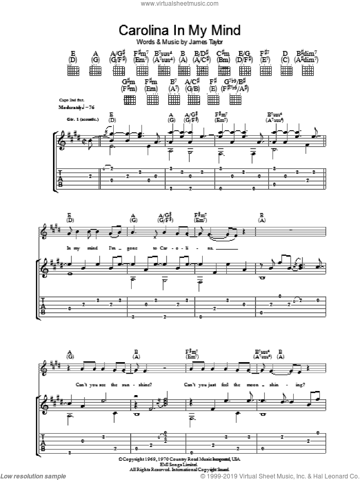 Carolina In My Mind sheet music for guitar (tablature) by James Taylor, intermediate skill level