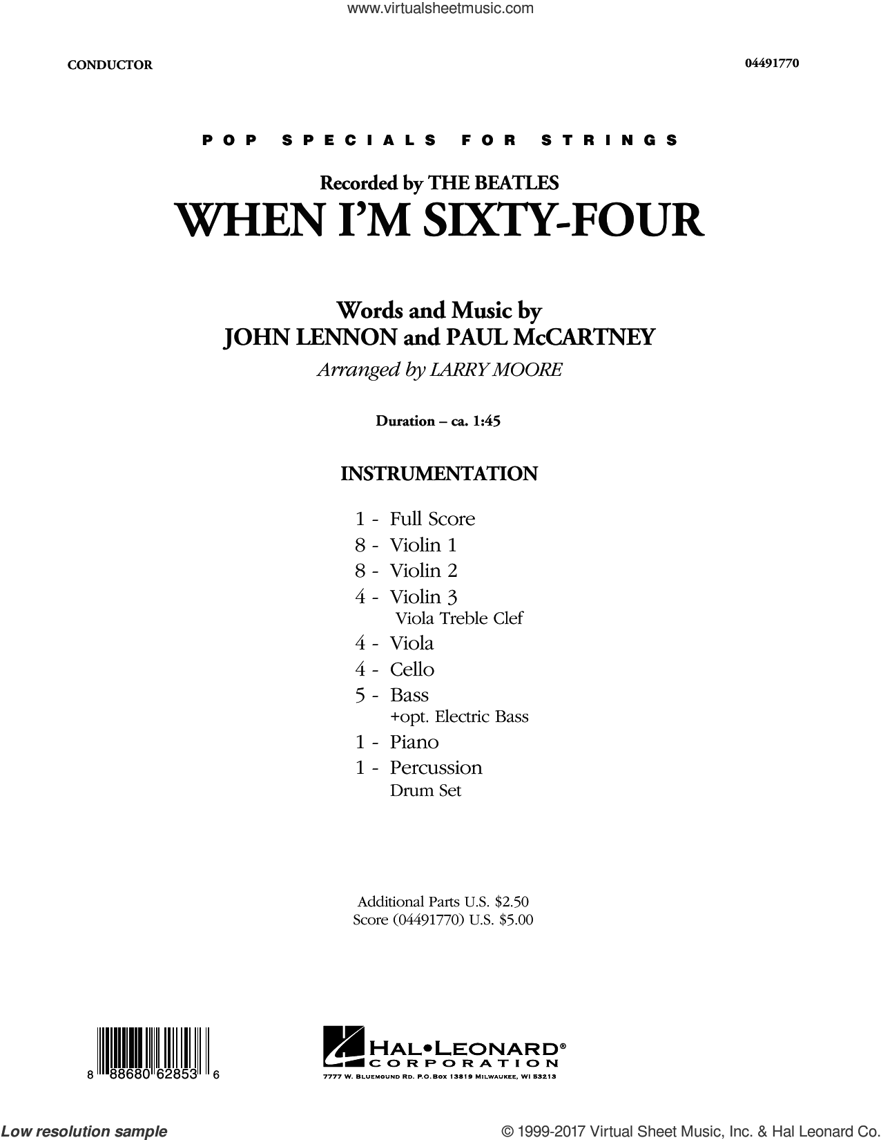 When I'm Sixty-Four (COMPLETE) sheet music for orchestra by Larry Moore, John Lennon, Paul McCartney and The Beatles, intermediate