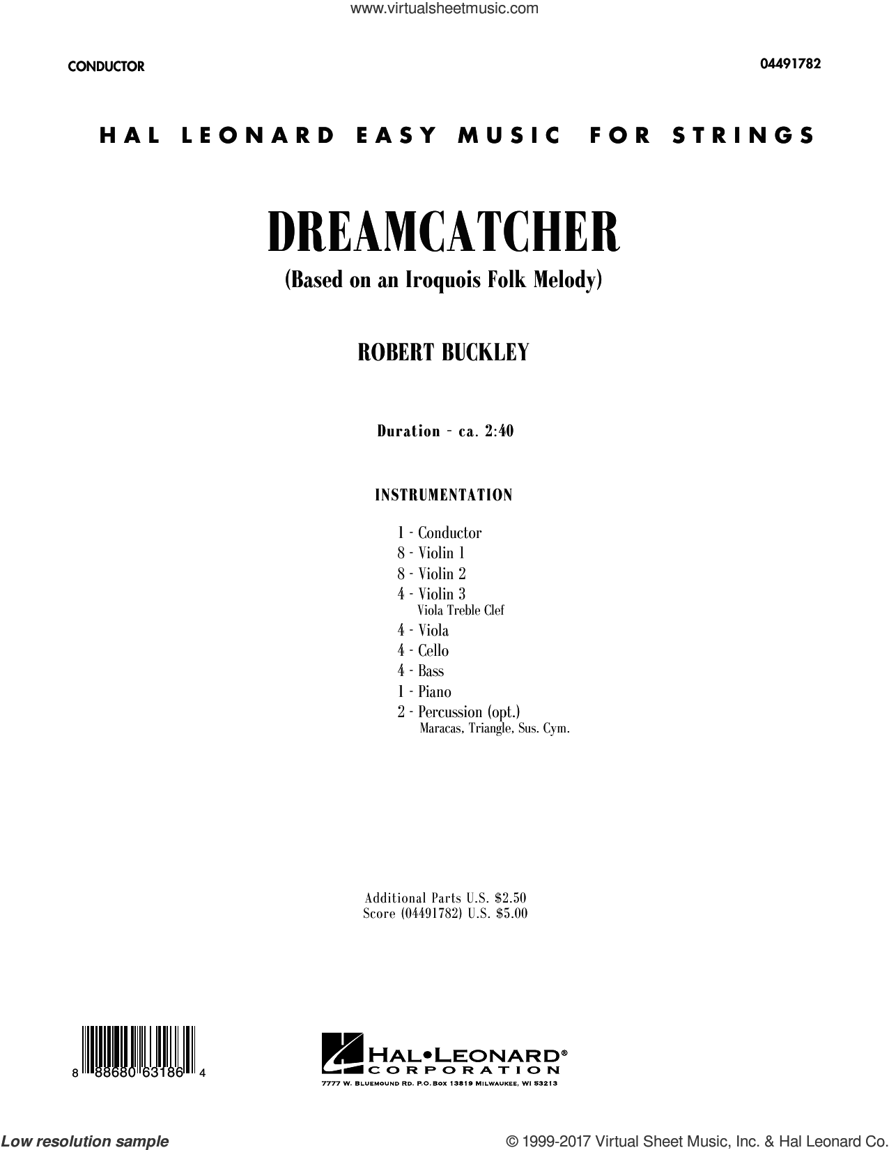 Dreamcatcher (COMPLETE) sheet music for orchestra by Robert Buckley, intermediate skill level