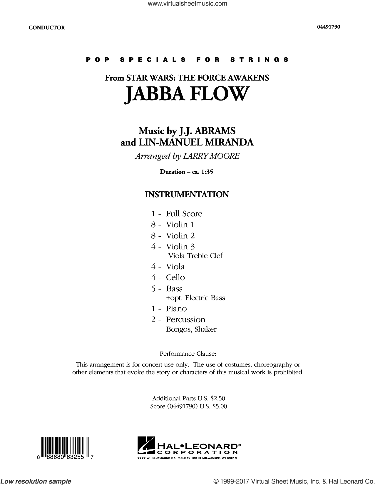 Jabba Flow (from Star Wars: The Force Awakens) (COMPLETE) sheet music for orchestra by Larry Moore and Lin-Manuel Miranda, intermediate. Score Image Preview.