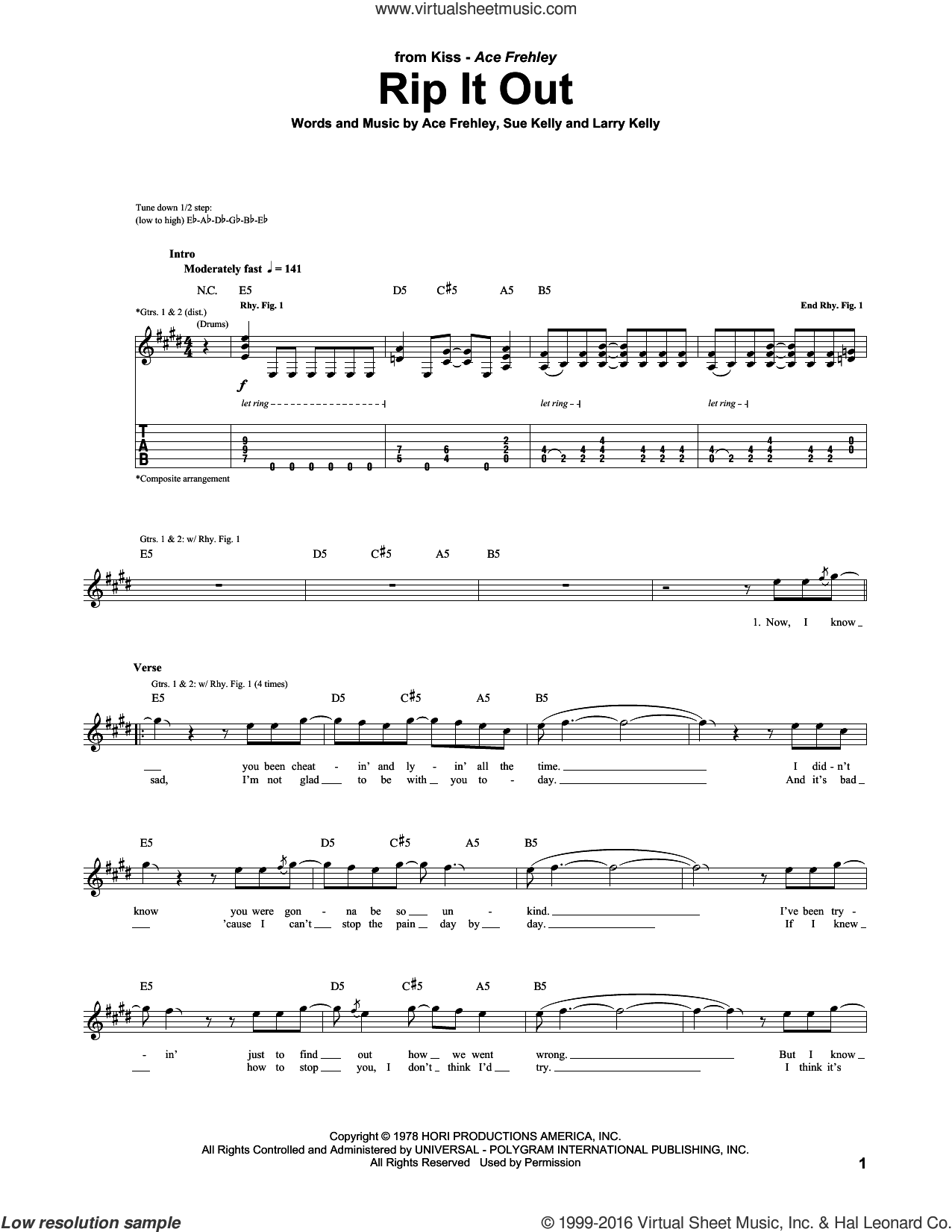 Rip It Out sheet music for guitar (tablature) by Sue Kelly, KISS and Ace Frehley. Score Image Preview.