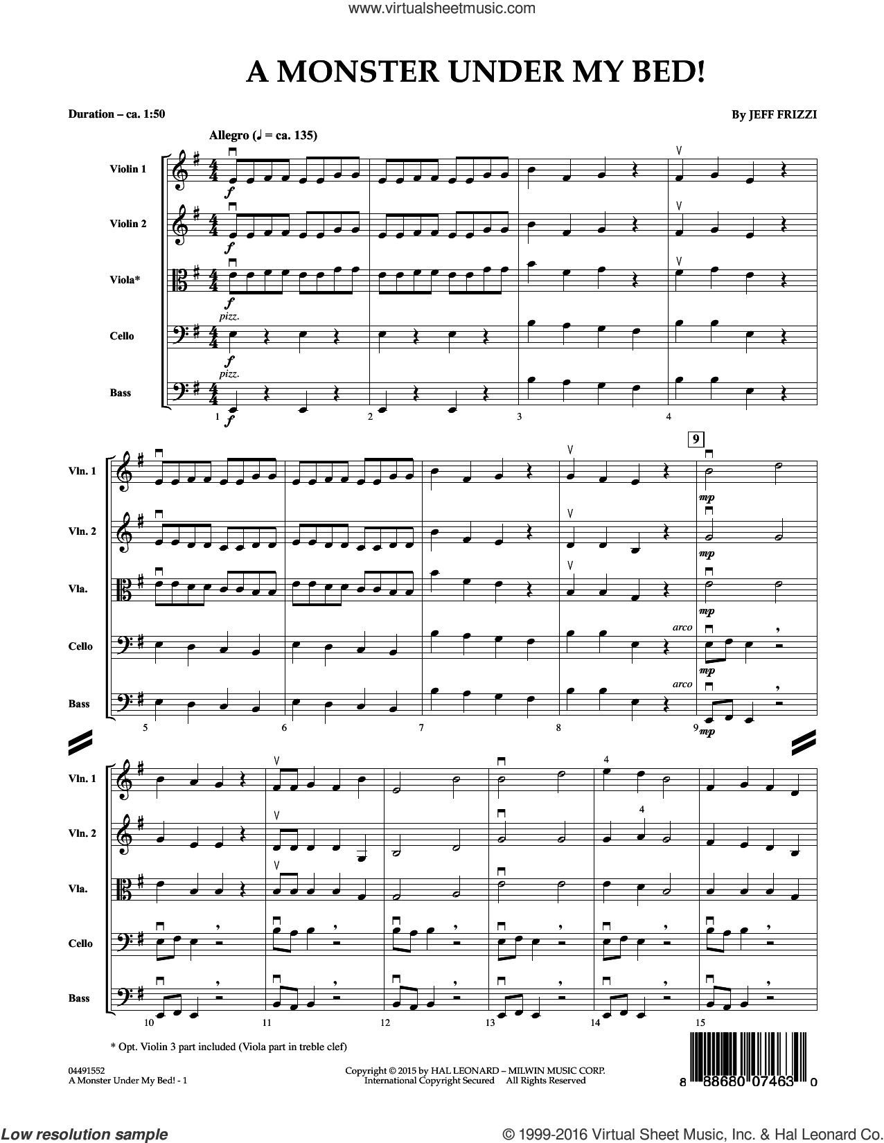A Monster Under My Bed! sheet music for orchestra (full score) by Jeff Frizzi. Score Image Preview.