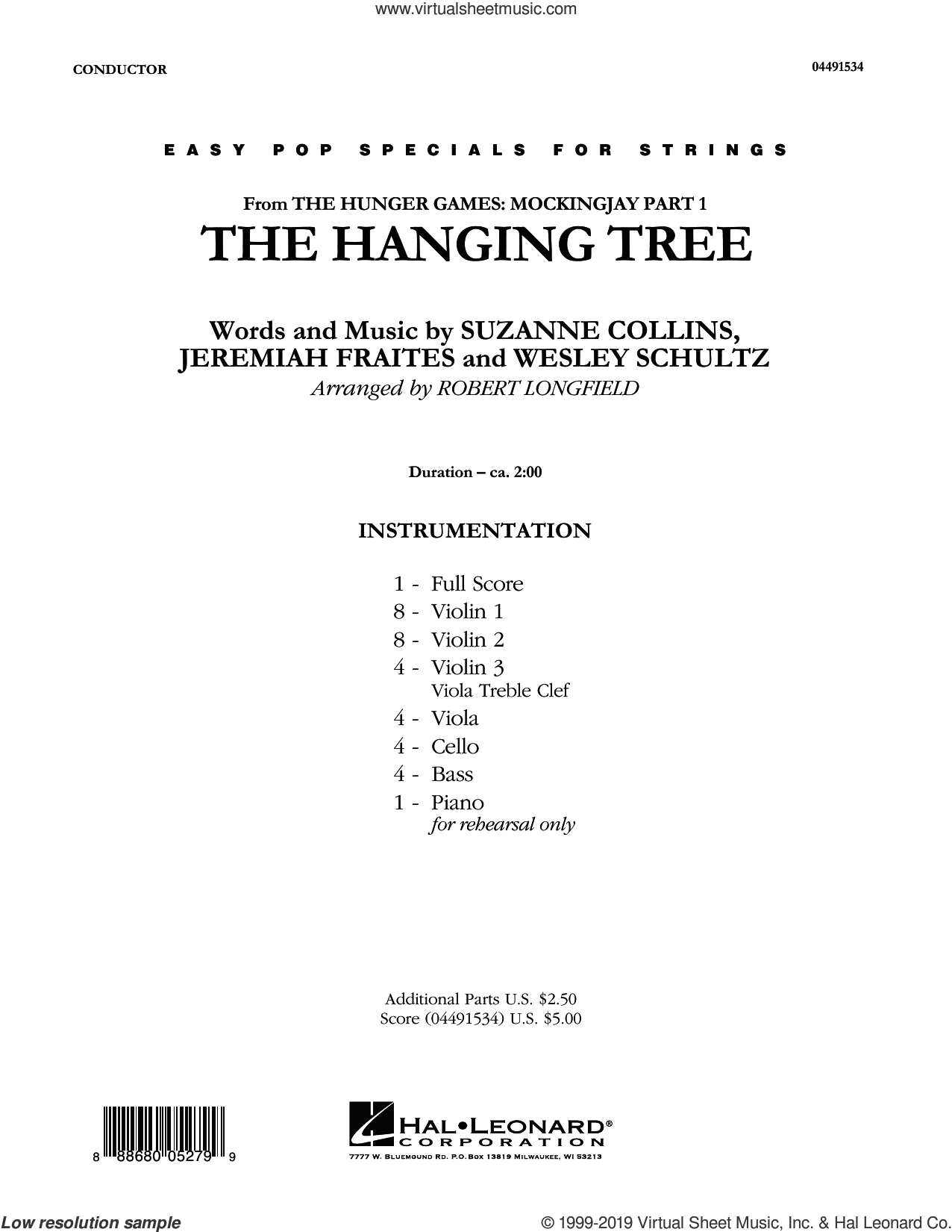 The Hanging Tree (COMPLETE) sheet music for orchestra by Robert Longfield, James Newton Howard, Jennifer Lawrence, Jeremiah Fraites, Suzanne Collins and Wesley Schultz, intermediate skill level