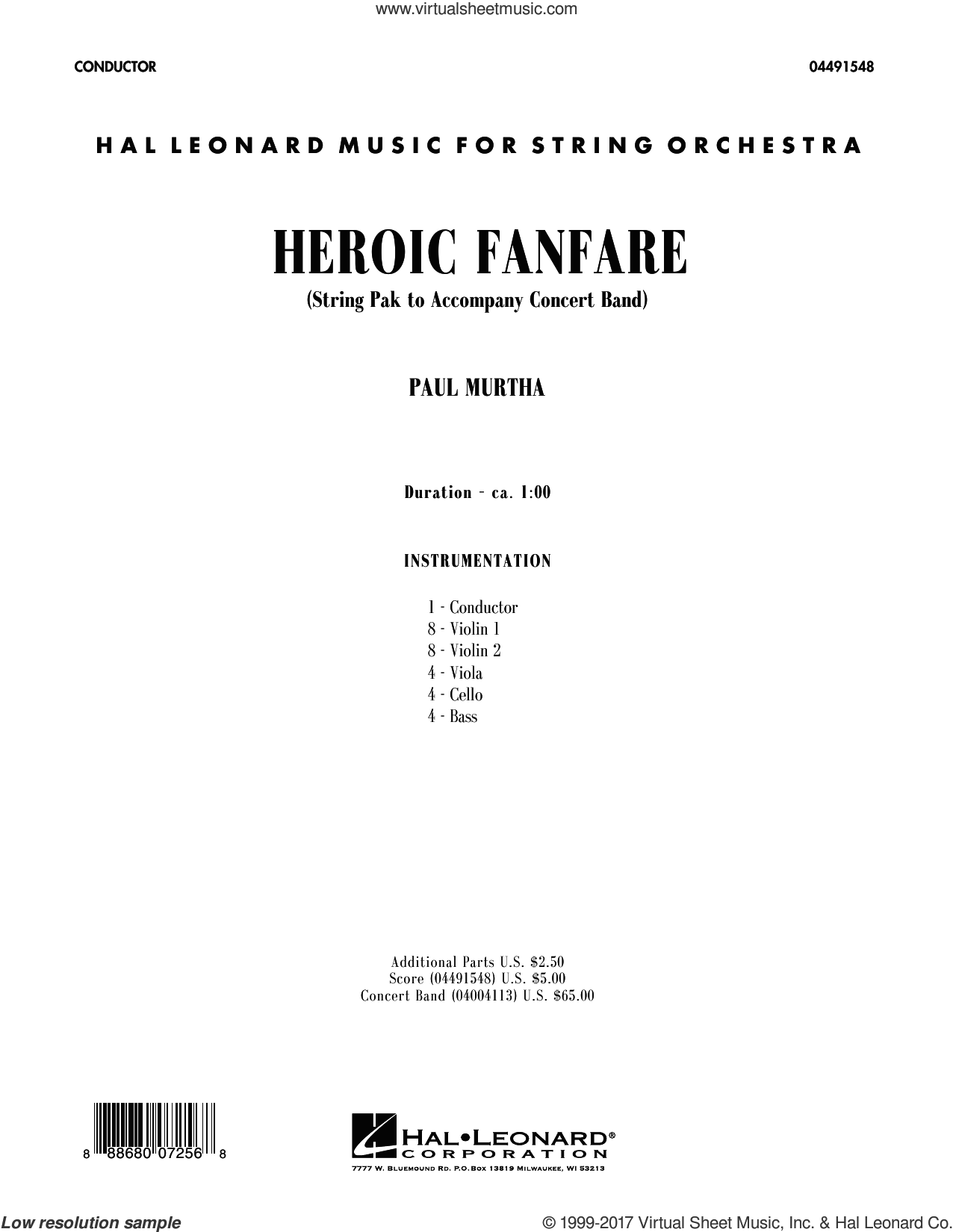 Heroic Fanfare (COMPLETE) sheet music for orchestra by Paul Murtha, intermediate orchestra. Score Image Preview.