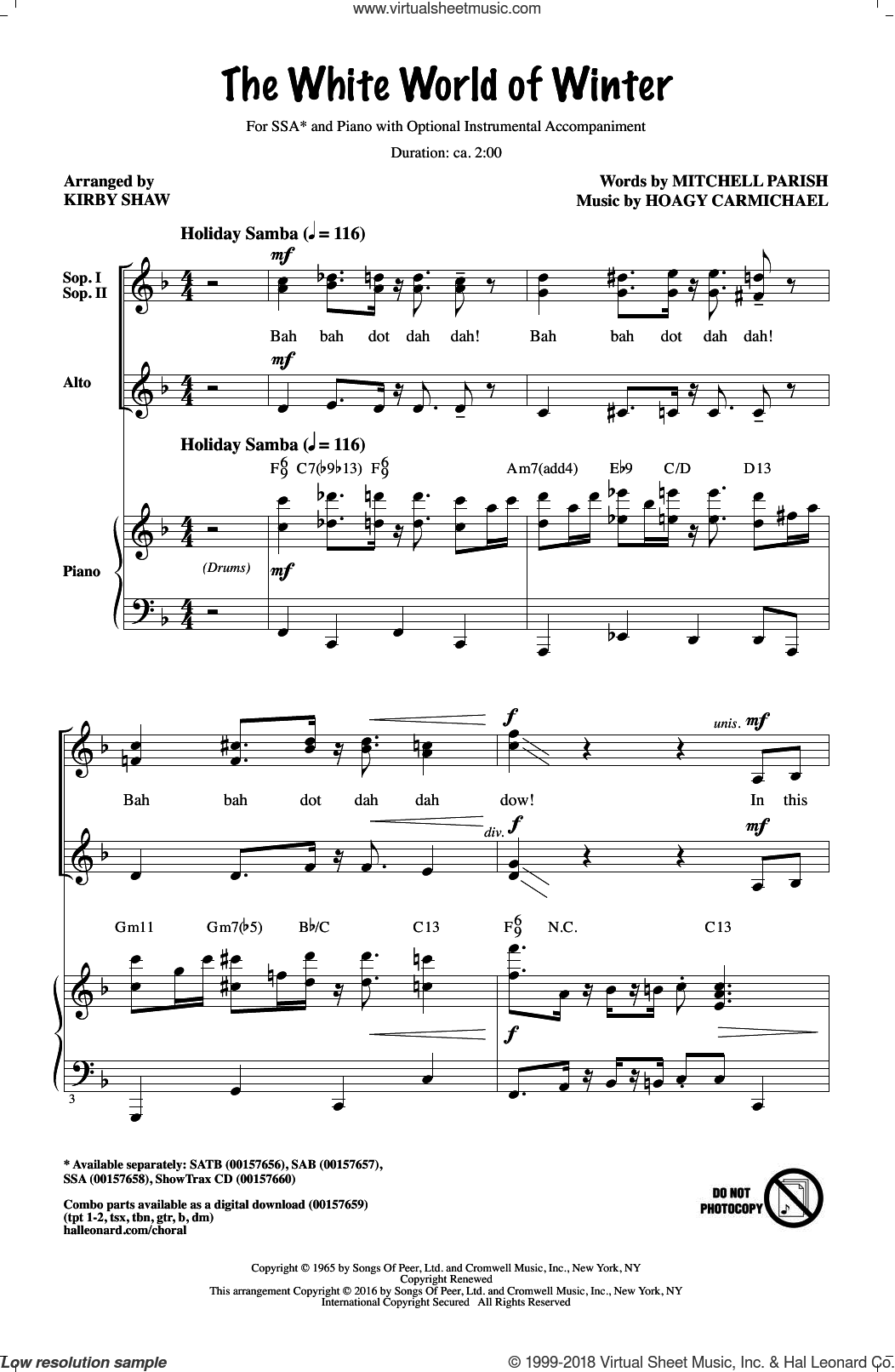 The White World Of Winter sheet music for choir and piano (SSA) by Mitchell Parish, Kirby Shaw and Hoagy Carmichael. Score Image Preview.
