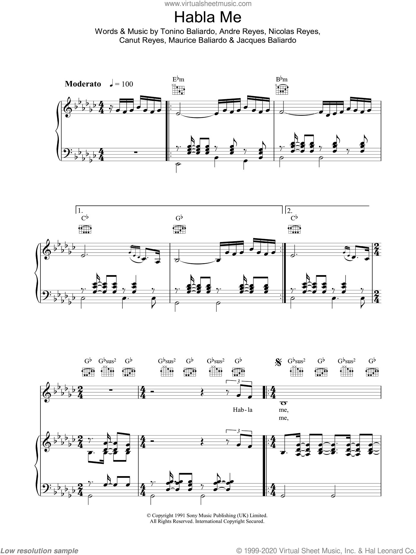 Habla Me sheet music for voice, piano or guitar by Andre Reyes, Nicolas Reyes and Tonino Baliardo. Score Image Preview.