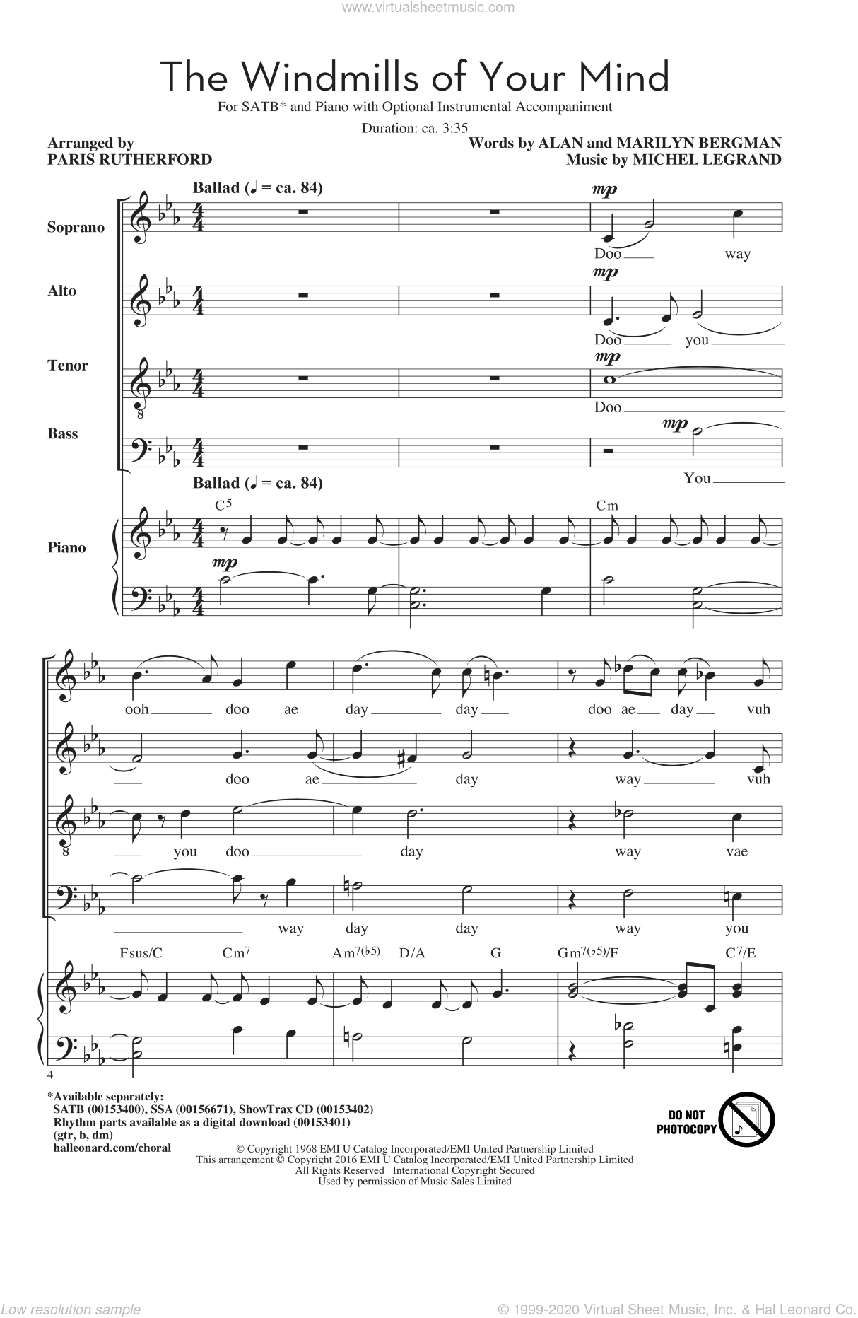 Legrand - The Windmills Of Your Mind (arr  Paris Rutherford) sheet music  for choir (SATB: soprano, alto, tenor, bass)