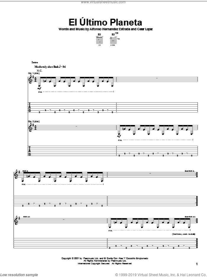 El Ultimo Planeta sheet music for guitar (tablature) by Cesar Lopez and Alfonso Hernandez Estrada. Score Image Preview.