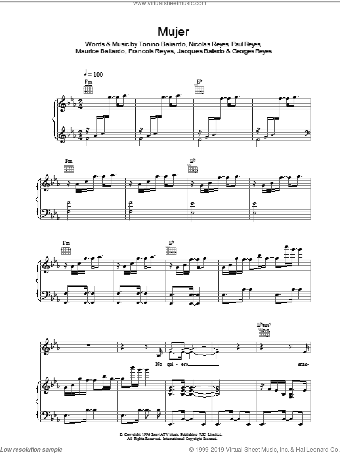 Mujer sheet music for voice, piano or guitar by Francois Reyes, Nicolas Reyes and Tonino Baliardo. Score Image Preview.