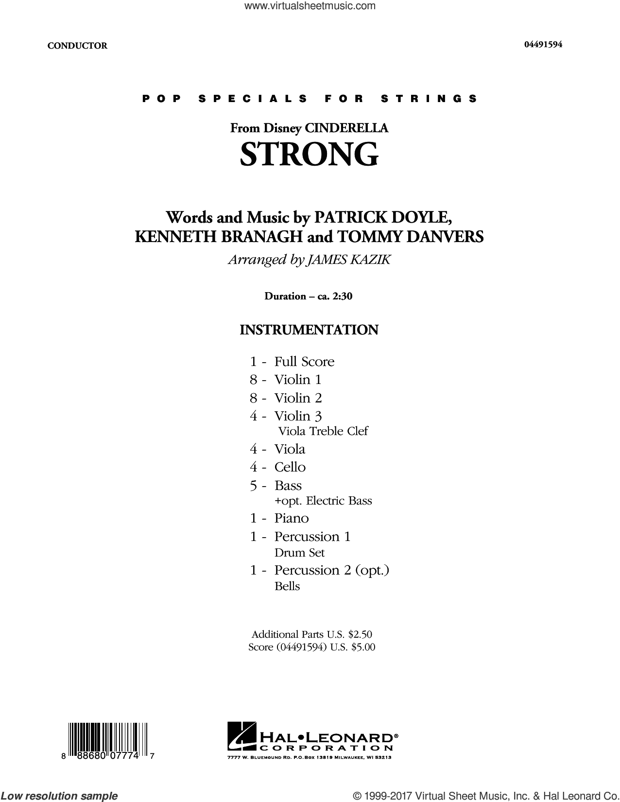 Strong (from Disney's Cinderella) (COMPLETE) sheet music for orchestra by Patrick Doyle, James Kazik, Kenneth Branagh, Sonna Rele and Tommy Danvers, intermediate
