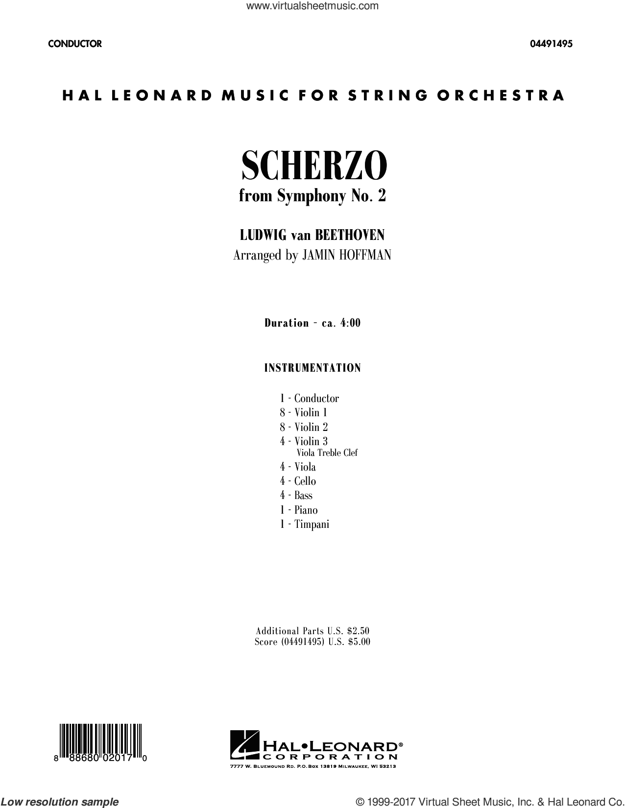 Scherzo from Symphony No. 2 (COMPLETE) sheet music for orchestra by Ludwig van Beethoven and Jamin Hoffman, classical score, intermediate. Score Image Preview.