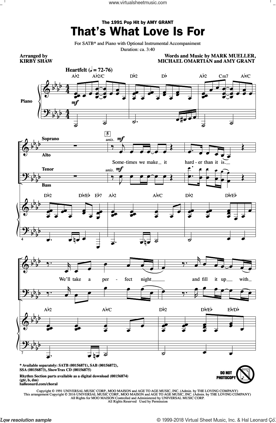That's What Love Is For sheet music for choir (SATB: soprano, alto, tenor, bass) by Amy Grant, Kirby Shaw and Mark Mueller, intermediate. Score Image Preview.
