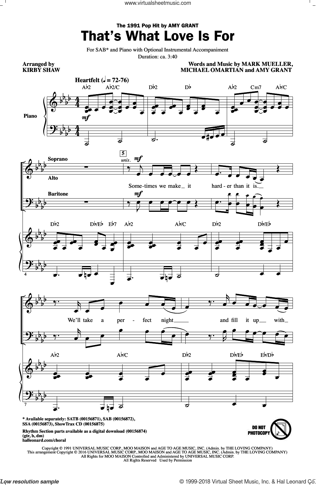 That's What Love Is For sheet music for choir and piano (SAB) by Kirby Shaw, Amy Grant, Mark Mueller and Michael Omartian. Score Image Preview.