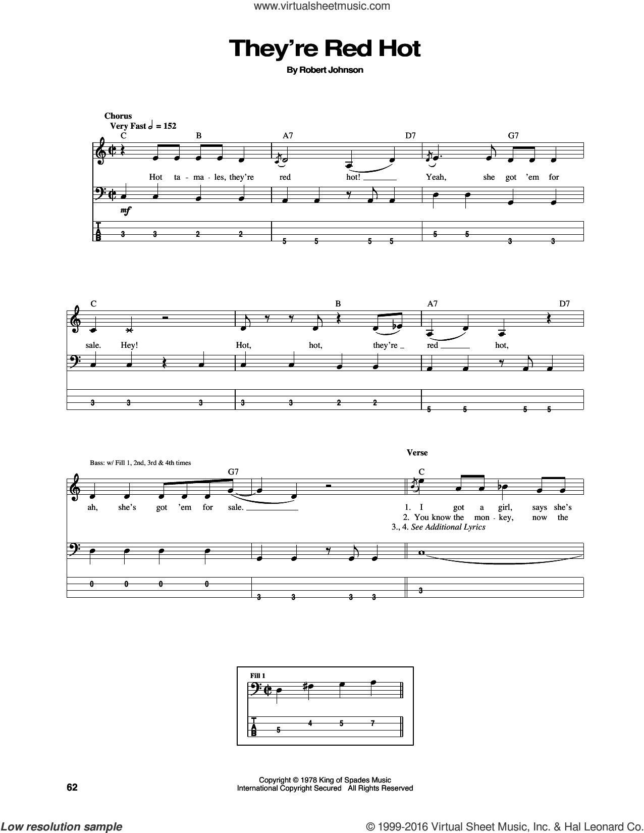 They're Red Hot sheet music for bass (tablature) (bass guitar) by Robert Johnson and Red Hot Chili Peppers. Score Image Preview.