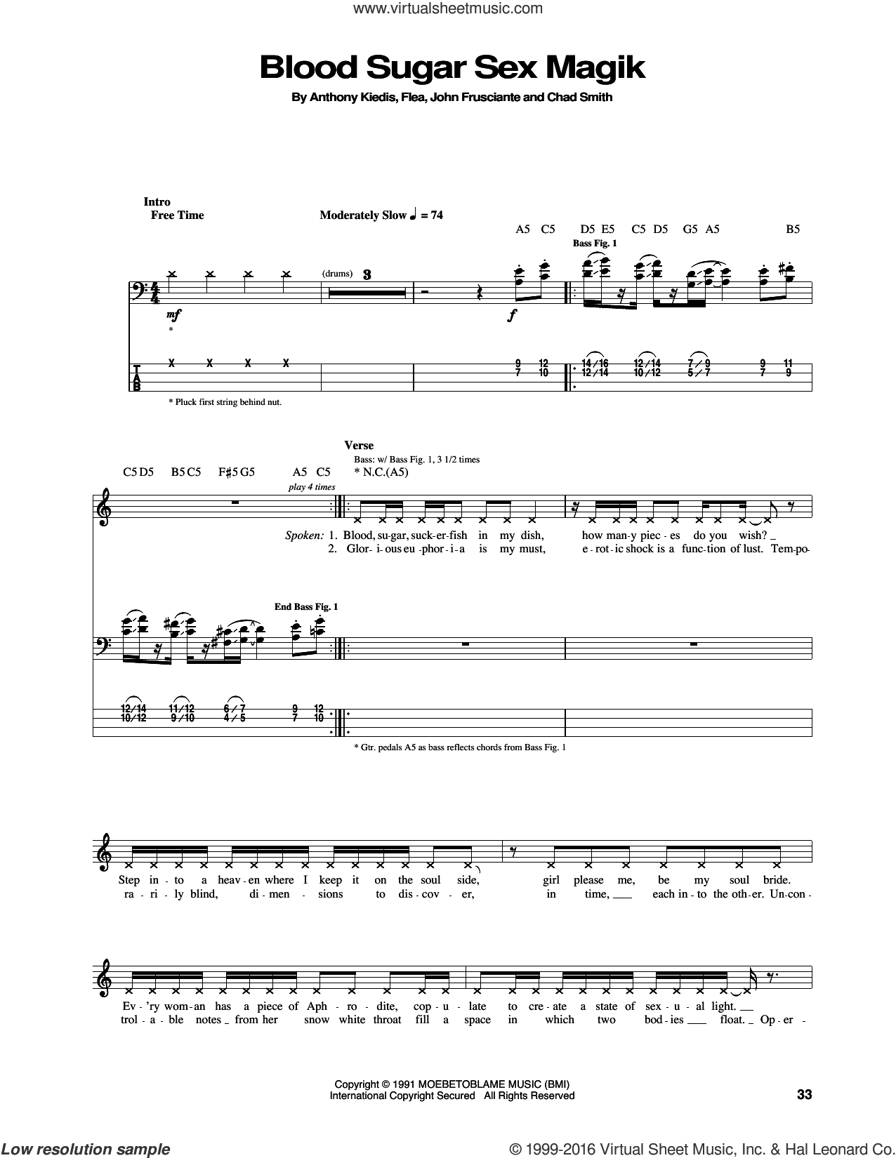 Blood Sugar Sex Magik sheet music for bass (tablature) (bass guitar) by John Frusciante, Red Hot Chili Peppers and Flea. Score Image Preview.
