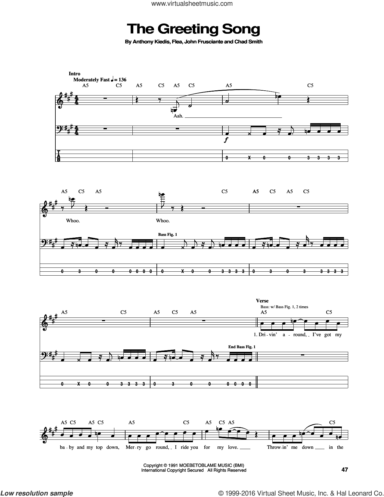 The Greeting Song sheet music for bass (tablature) (bass guitar) by John Frusciante, Red Hot Chili Peppers and Flea. Score Image Preview.