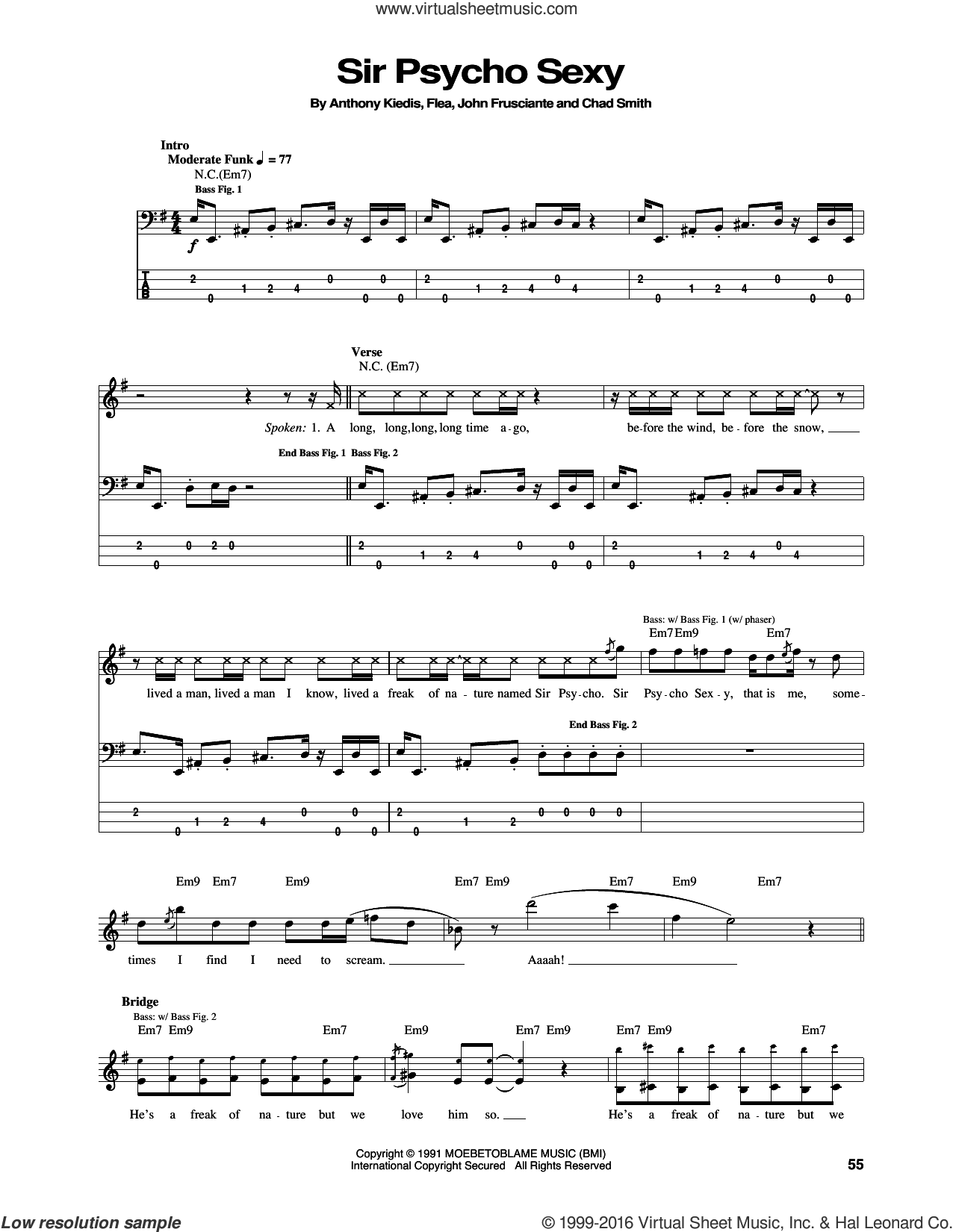 Sir Psycho Sexy sheet music for bass (tablature) (bass guitar) by Red Hot Chili Peppers, Anthony Kiedis, Chad Smith, Flea and John Frusciante, intermediate skill level