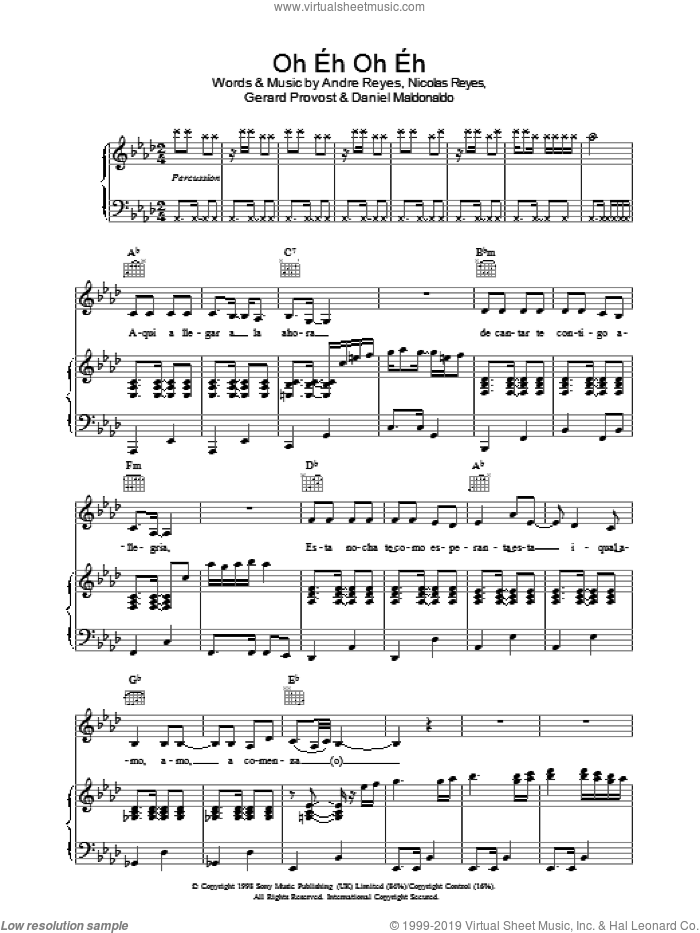 Oh Eh Oh Eh sheet music for voice, piano or guitar by Gipsy Kings, intermediate voice, piano or guitar. Score Image Preview.