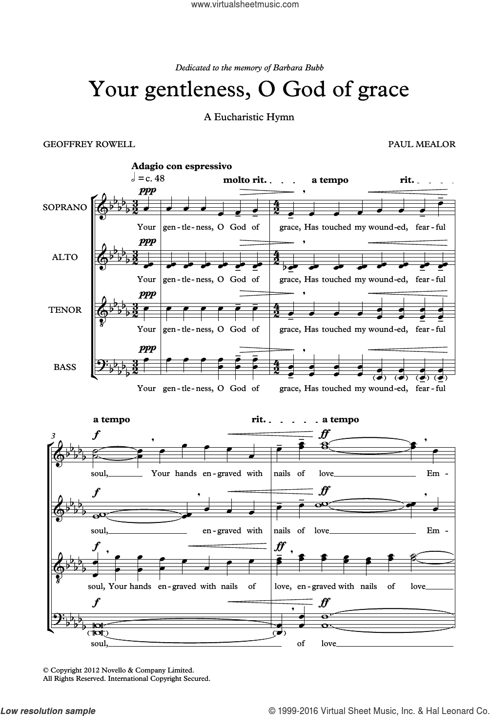 Your Gentleness, O God Of Grace sheet music for voice, piano or guitar by Geoffrey Rowell