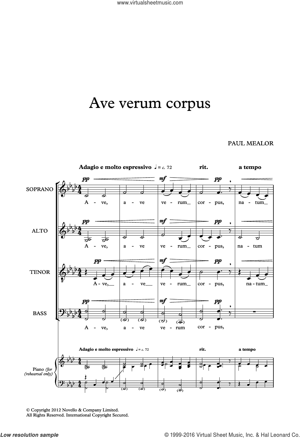 Ave Verum Corpus sheet music for voice, piano or guitar by Paul Mealor. Score Image Preview.