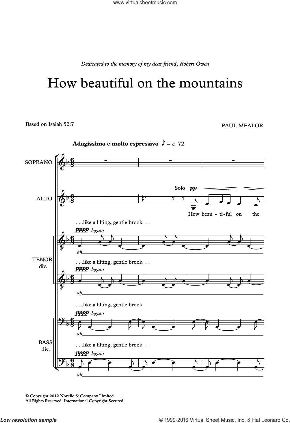 How Beautiful On The Mountains sheet music for choir (SATB: soprano, alto, tenor, bass) by Paul Mealor and Liturgical, classical score, intermediate skill level