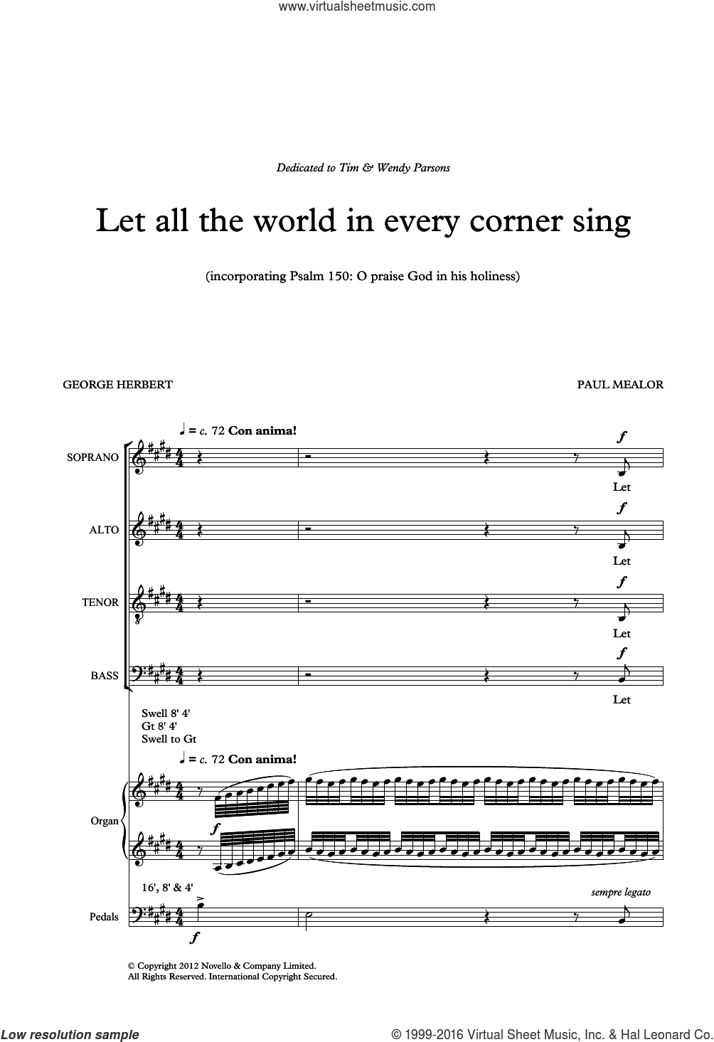 Let All The World In Every Corner Sing sheet music for voice, piano or guitar by George Herbert and Paul Mealor. Score Image Preview.