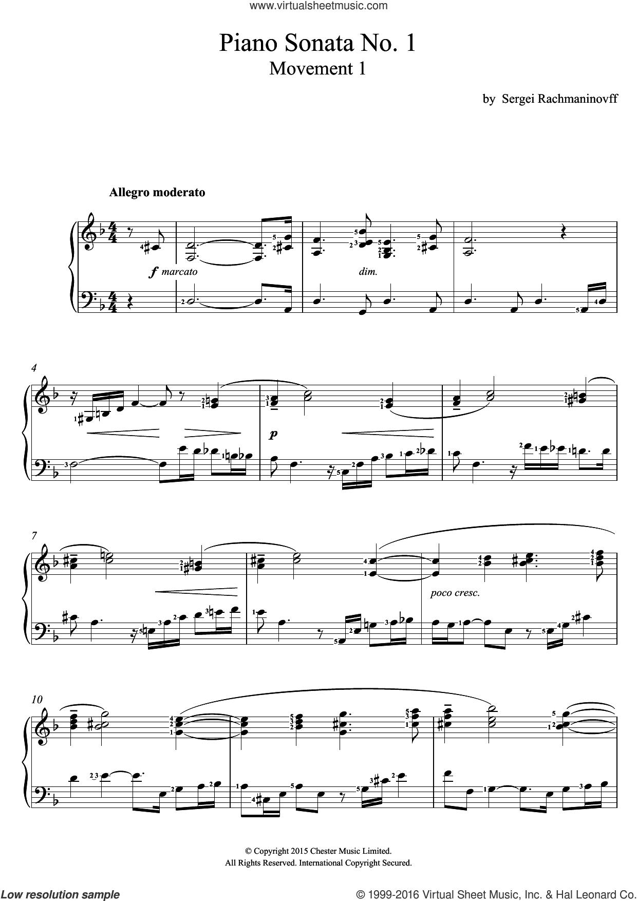 Piano Sonata No.1 (1st Movement) sheet music for voice and piano by Serjeij Rachmaninoff, classical score, intermediate skill level