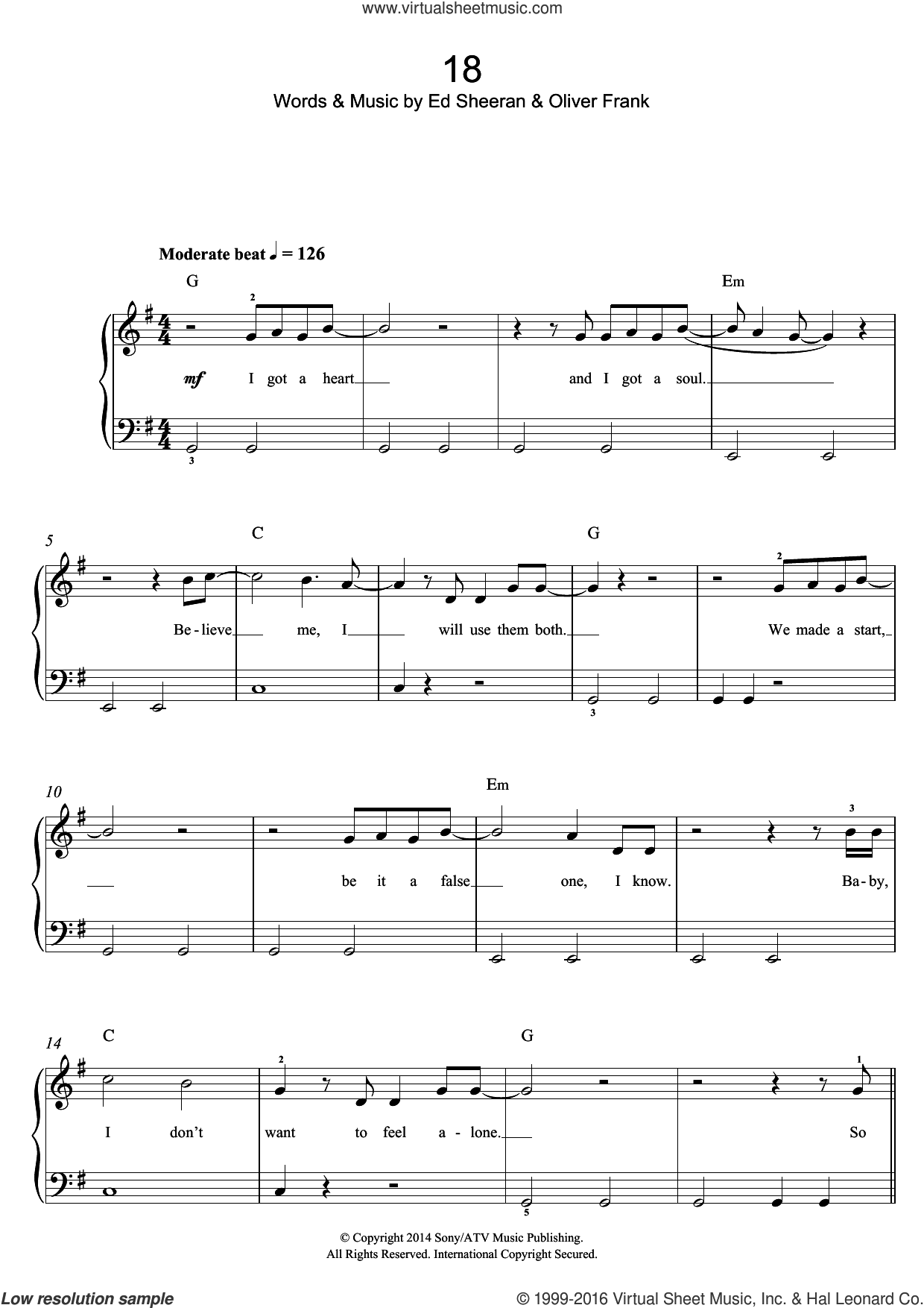 18 sheet music for voice, piano or guitar by Ed Sheeran, One Direction and Oliver Frank. Score Image Preview.