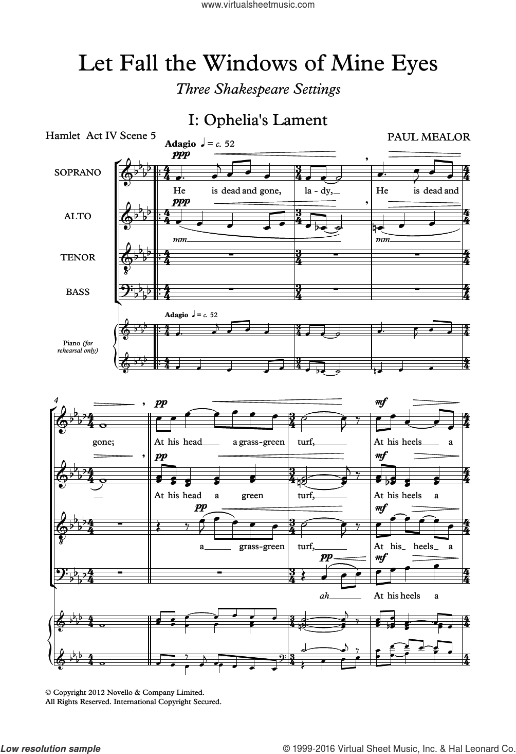 Let Fall The Windows Of Mine Eyes sheet music for choir (SATB: soprano, alto, tenor, bass) by Paul Mealor and William Shakespeare, classical score, intermediate skill level