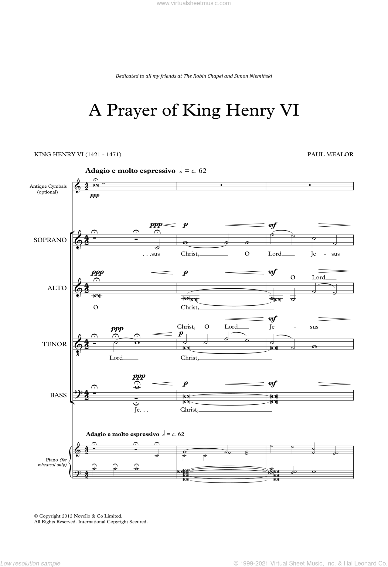 A Prayer Of King Henry VI sheet music for voice, piano or guitar by Paul Mealor and King Henry VI, classical score, intermediate skill level