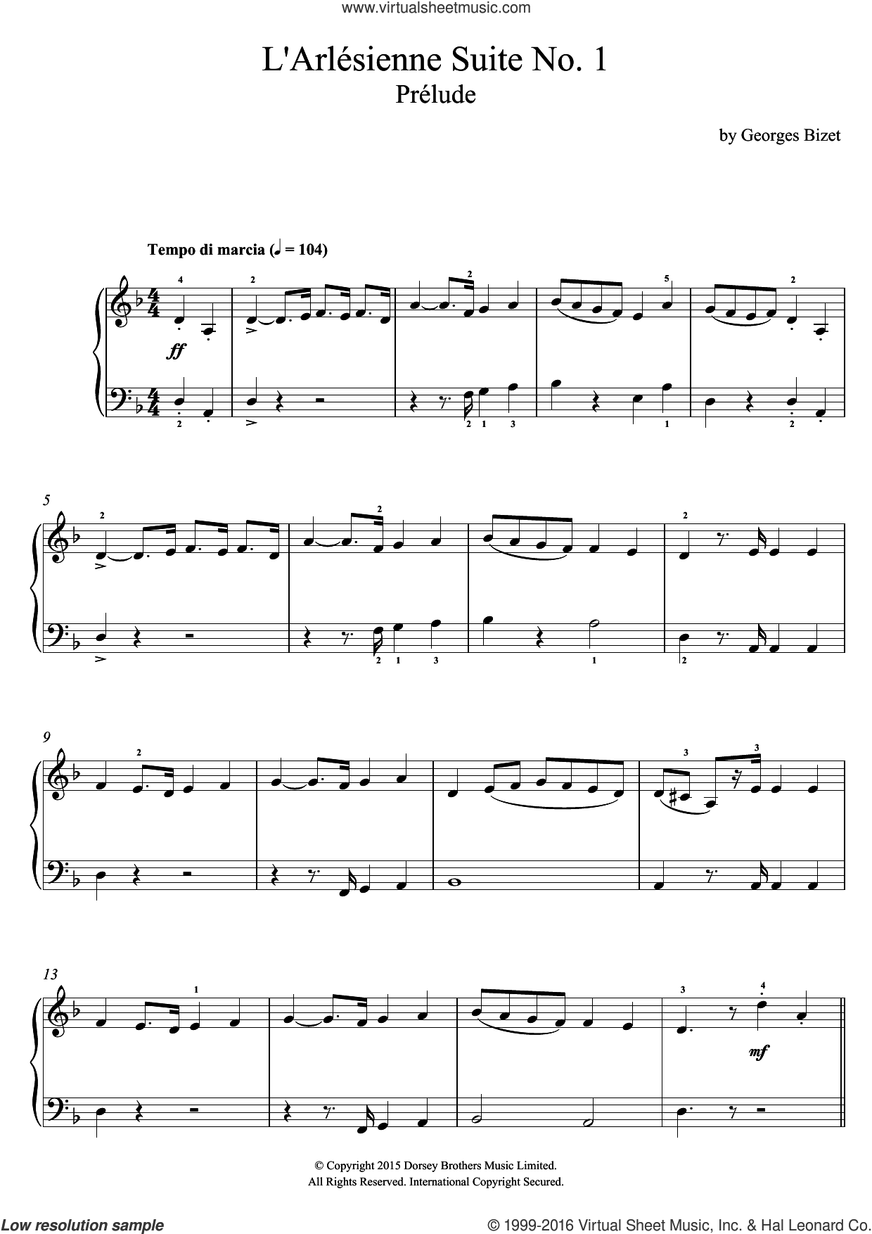 Prelude (from 'L'Arlesienne') sheet music for voice, piano or guitar by Georges Bizet, classical score, intermediate skill level