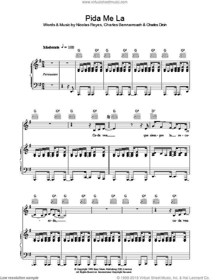 Pida Me La sheet music for voice, piano or guitar by Charles Bennarroach and Nicolas Reyes. Score Image Preview.