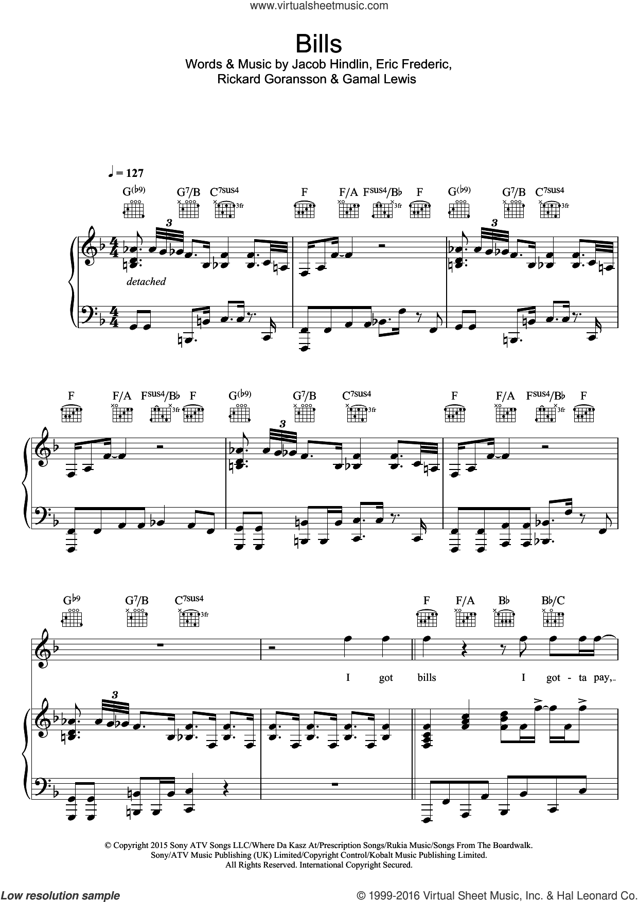 Bills sheet music for voice, piano or guitar by Eric Frederic, Jacob Hindlin and Rickard Goransson. Score Image Preview.