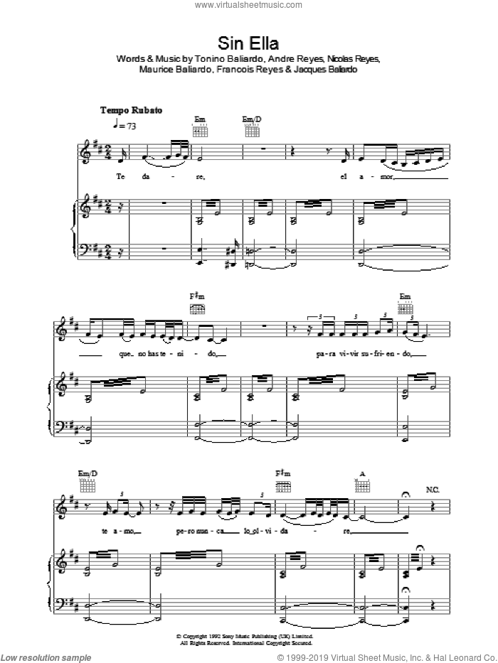 Sin Ella sheet music for voice, piano or guitar by Andre Reyes, Francois Reyes, Nicolas Reyes and Tonino Baliardo. Score Image Preview.