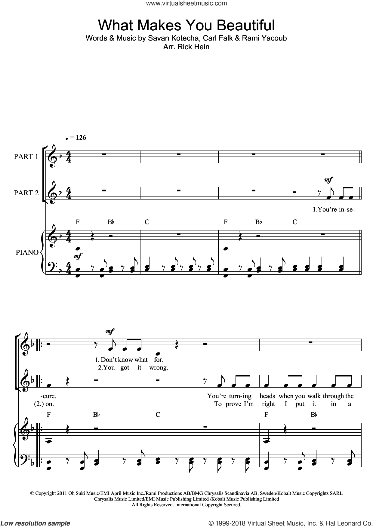 What Makes You Beautiful (arr. Rick Hein) sheet music for choir by One Direction, Rami and Savan Kotecha, intermediate. Score Image Preview.