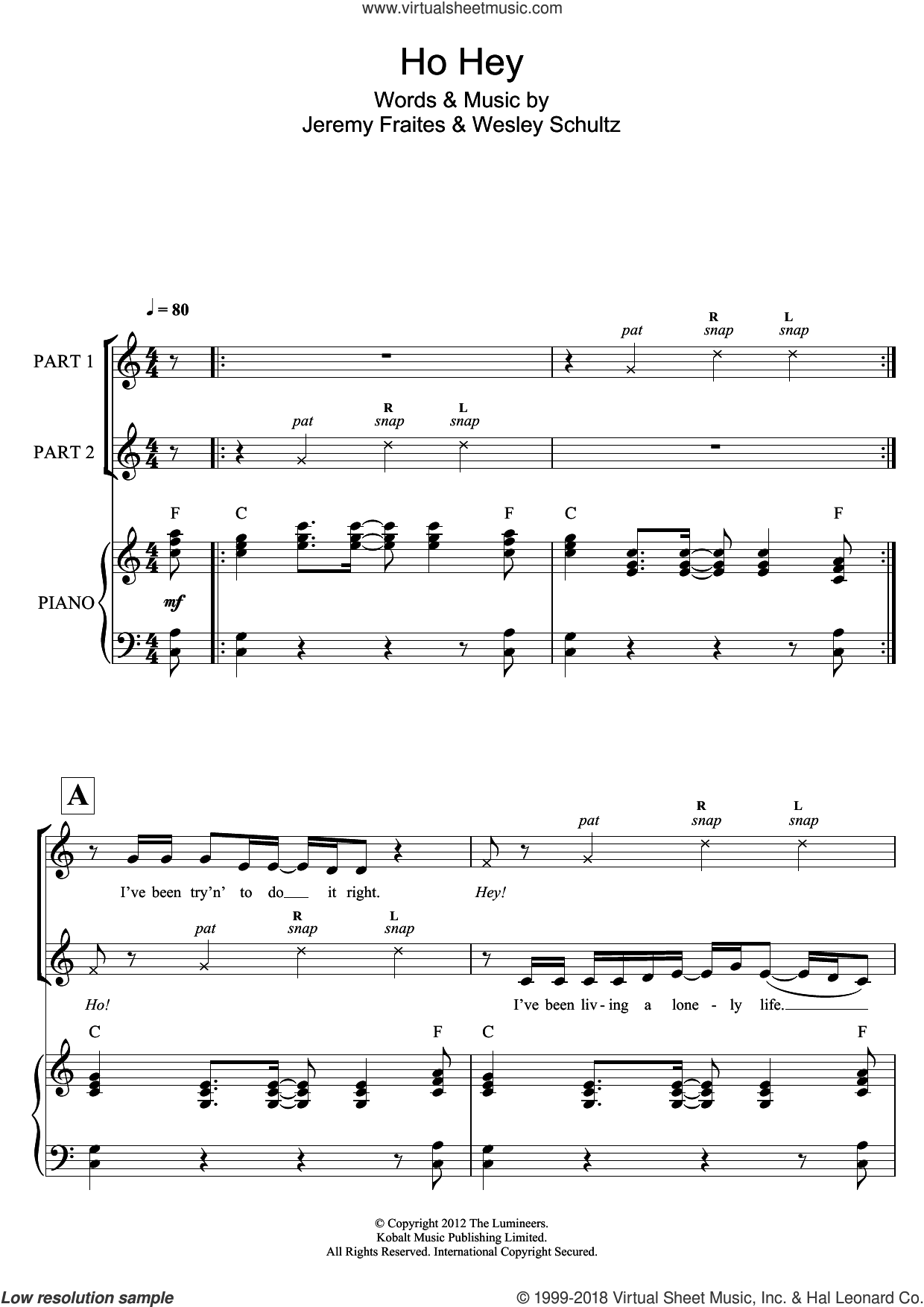 Ho Hey  (arr. Rick Hein) sheet music for choir by The Lumineers, Rick Hein, Jeremy Fraites and Wesley Schultz, intermediate skill level