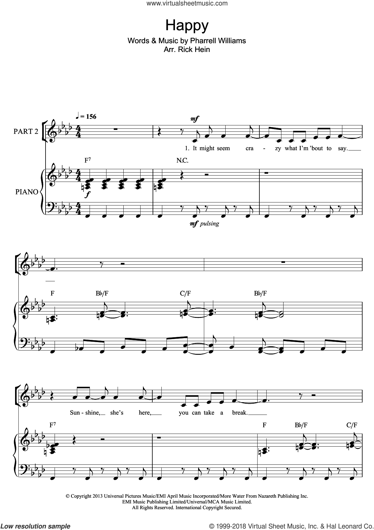 Happy (arr. Rick Hein) sheet music for choir by Pharrell Williams. Score Image Preview.