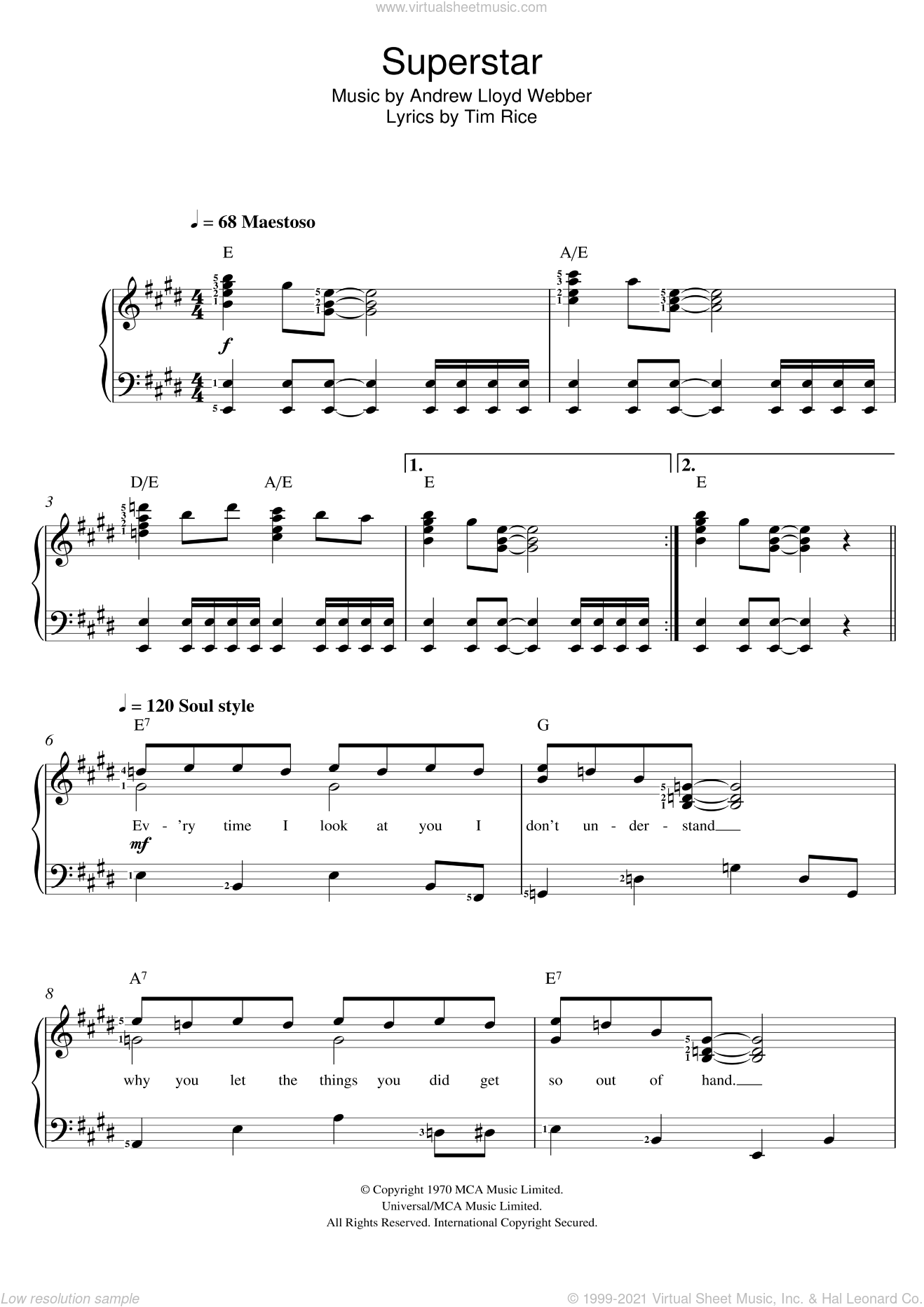 Jesus Christ, Superstar sheet music for voice and piano by Andrew Lloyd Webber and Tim Rice, intermediate skill level
