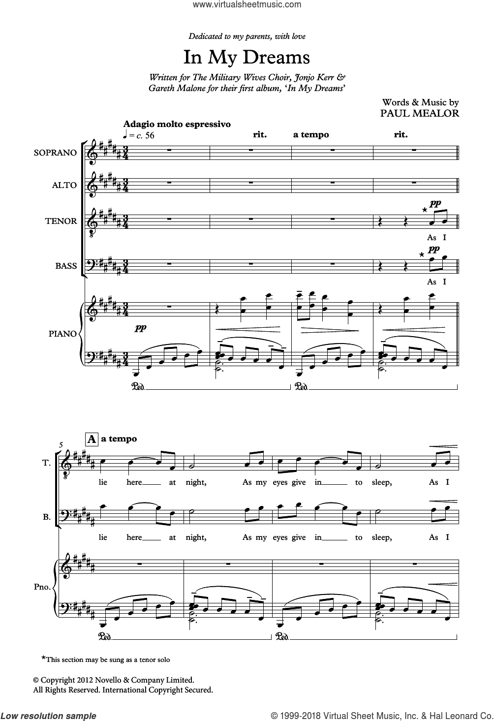 In My Dreams sheet music for choir by Paul Mealor and Military Wives, classical score, intermediate. Score Image Preview.