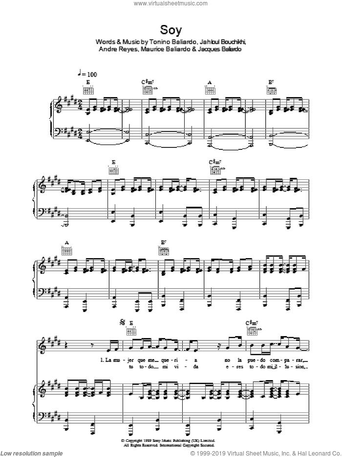 Soy sheet music for voice, piano or guitar by Andre Reyes, Jahloul Bouchikhi, Nicolas Reyes and Tonino Baliardo. Score Image Preview.