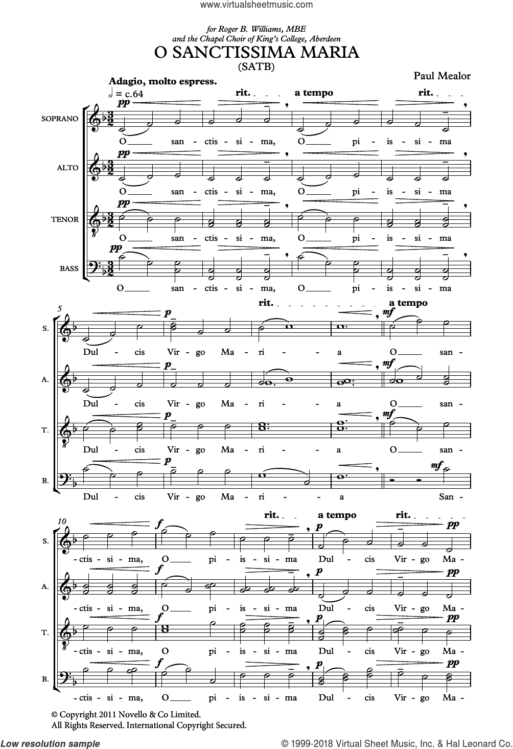 O Sanctissima Maria sheet music for choir by Liturgical Text and Paul Mealor. Score Image Preview.