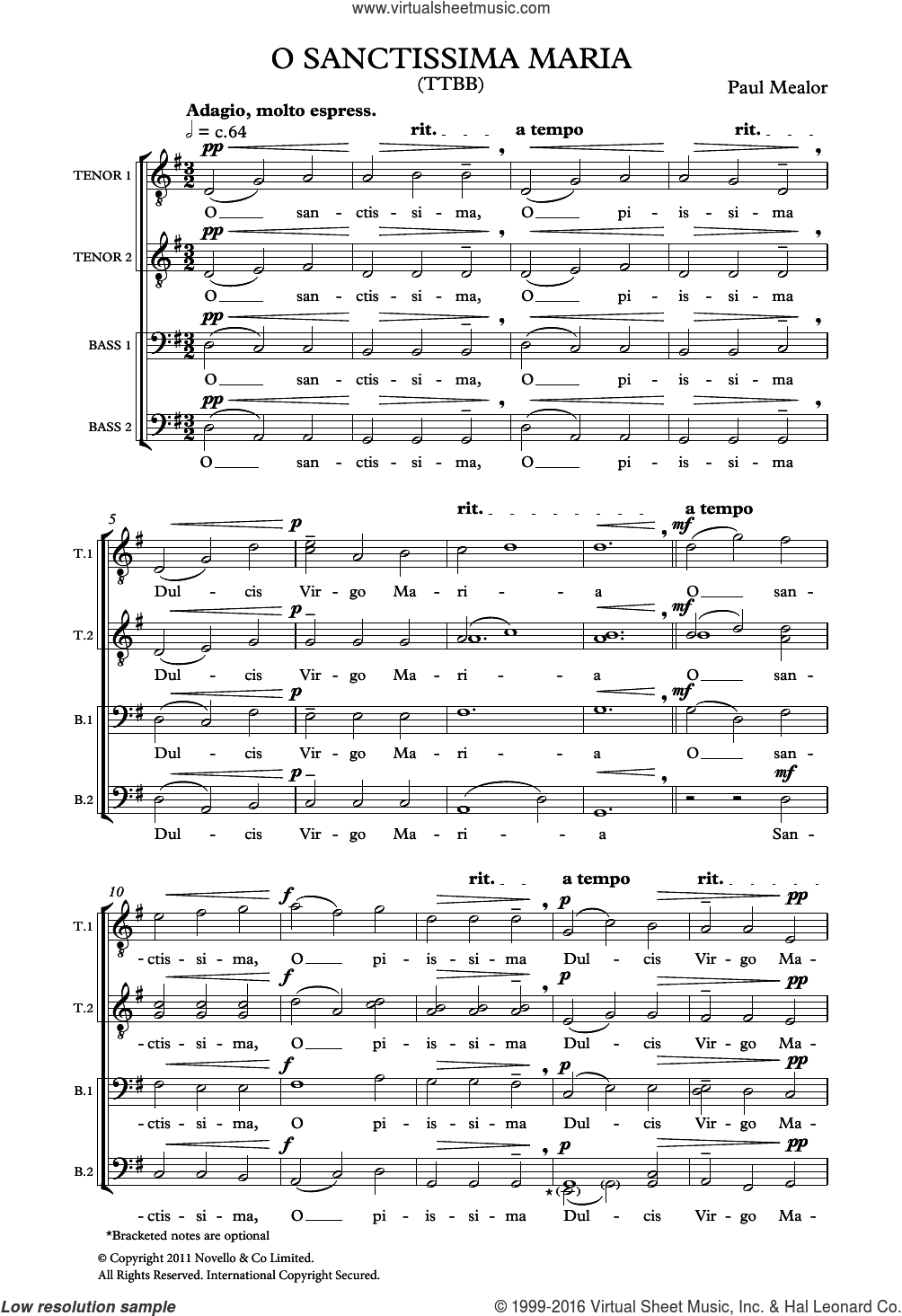 O Sanctissima Maria sheet music for voice, piano or guitar by Paul Mealor. Score Image Preview.