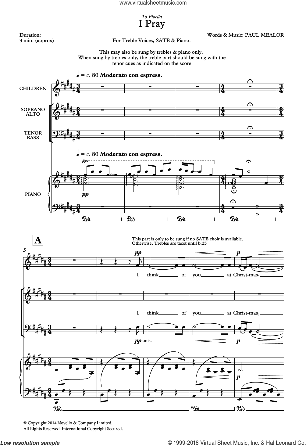 I Pray sheet music for choir by Paul Mealor, classical score, intermediate choir. Score Image Preview.