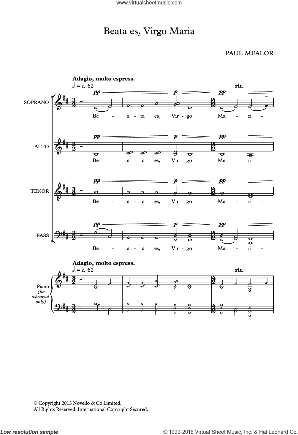 Beata Es Virgo Maria sheet music for voice, piano or guitar by Liturgical Text and Paul Mealor. Score Image Preview.