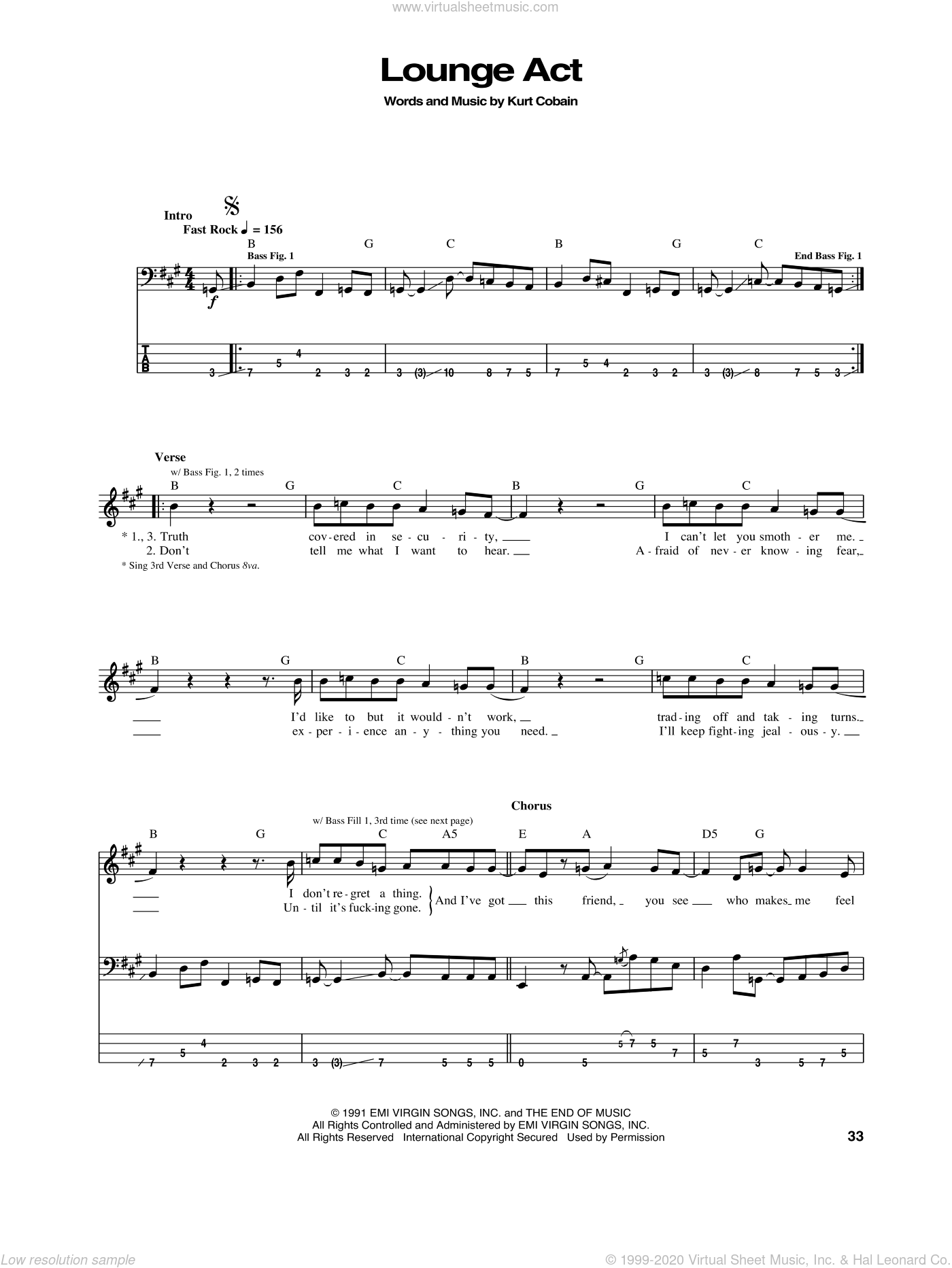 Lounge Act sheet music for bass (tablature) (bass guitar) by Nirvana, intermediate. Score Image Preview.