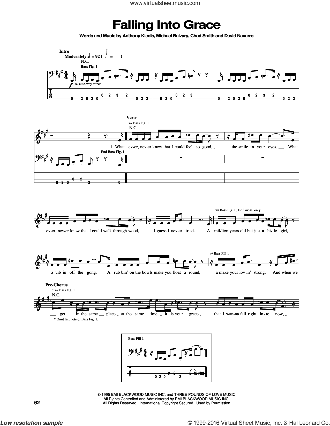 Falling Into Grace sheet music for bass (tablature) (bass guitar) by Red Hot Chili Peppers, Anthony Kiedis, Chad Smith, David Navarro and Flea, intermediate skill level