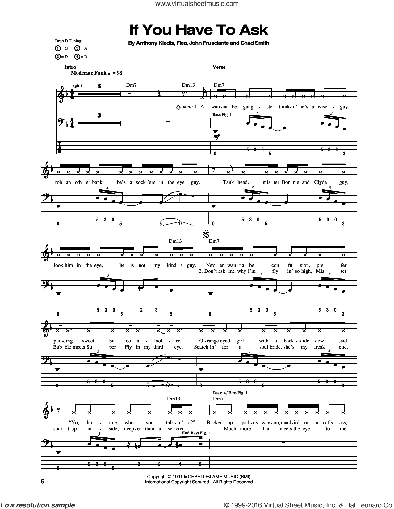 If You Have To Ask sheet music for bass (tablature) (bass guitar) by Red Hot Chili Peppers, Anthony Kiedis, Chad Smith, Flea and John Frusciante, intermediate. Score Image Preview.