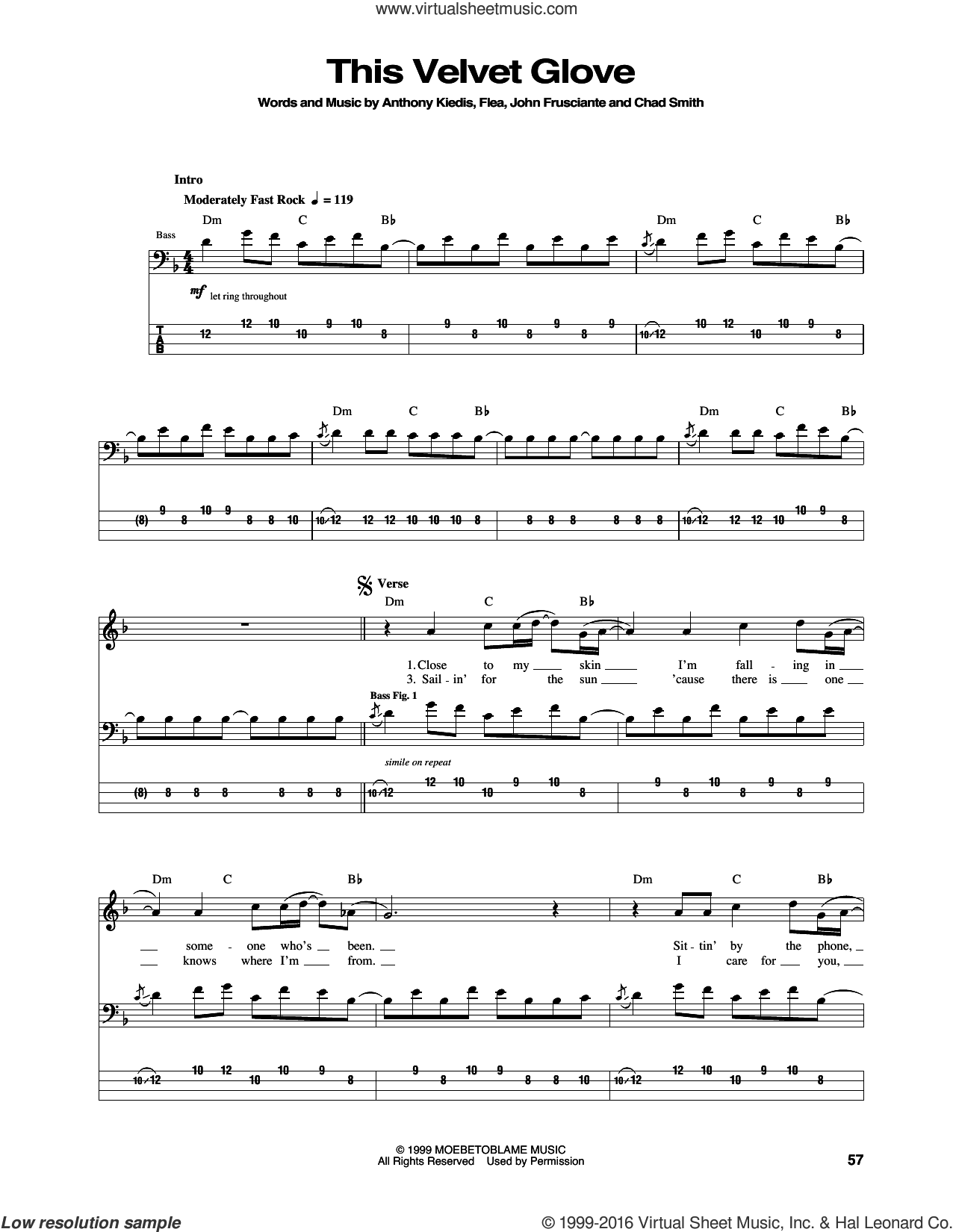 This Velvet Glove sheet music for bass (tablature) (bass guitar) by Red Hot Chili Peppers, Anthony Kiedis, Chad Smith, Flea and John Frusciante, intermediate. Score Image Preview.