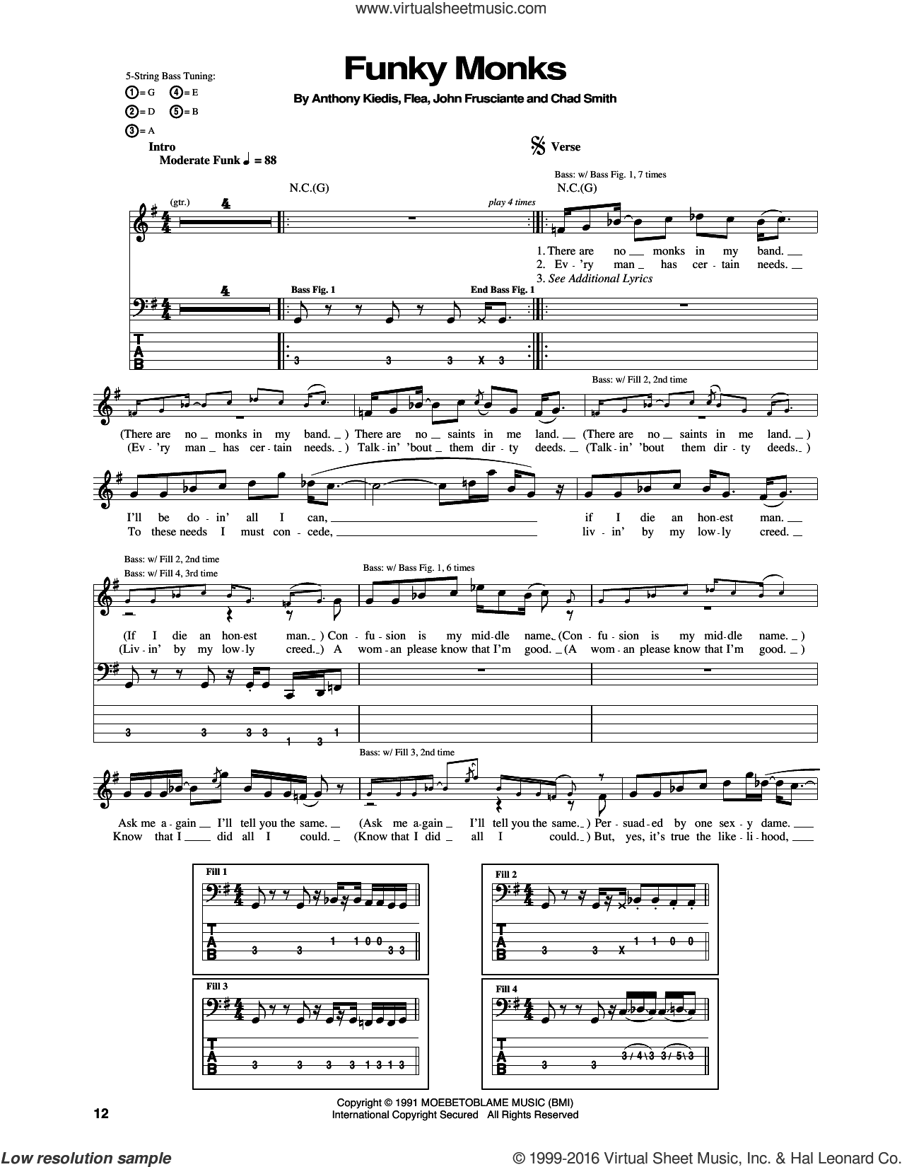 Funky Monks sheet music for bass (tablature) (bass guitar) by John Frusciante, Red Hot Chili Peppers and Flea. Score Image Preview.