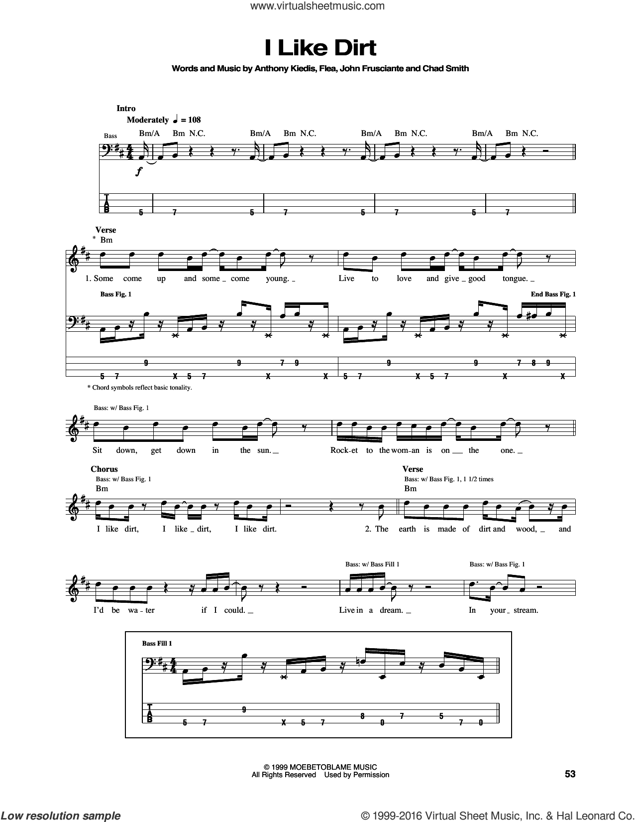 I Like Dirt sheet music for bass (tablature) (bass guitar) by Red Hot Chili Peppers, intermediate bass (tablature) (bass guitar). Score Image Preview.